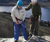 Abseiling - top of Scout Crag